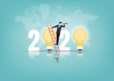 2020 creativity inspiration concepts with text number and light bulb on background. Businessman on stair with telescope, Ideas, Vector illustration flat Illustration