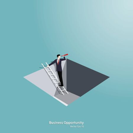 Business vision concept. Businessman Climbing ladder from the hole. Symbol of challenge, Opportunity, Success, Growth, Vector illustration flat