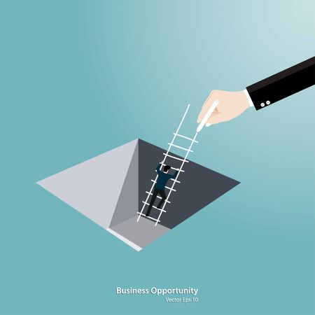 Business support concept. Businessman Climbing ladder from the hole. Symbol of challenge, Opportunity, Success, Growth, Vector illustration flat Иллюстрация