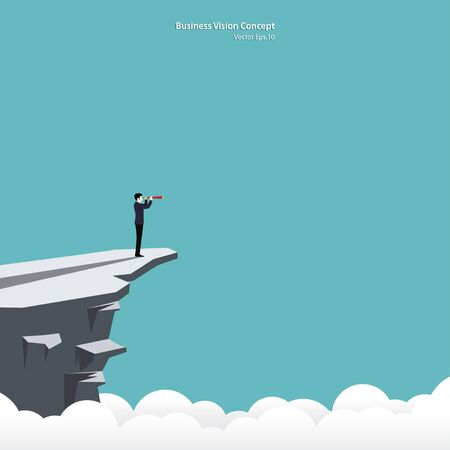 Businessman looking in telescope standing on cliff. Business vision concept, Leadership, Achievement, Target, Vector illustration flat Illustration