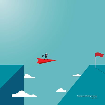 Leadership in business concept. Businessman flying on paper plane reach the other side of the cliff, Achievement, Motivation, Ambition. Eps10 vector illustration