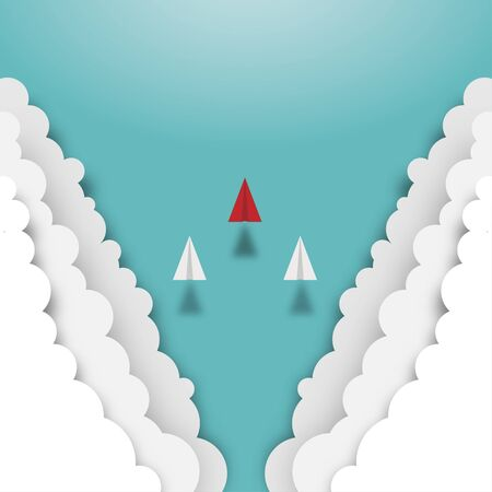 Paper airplanes flying from clouds on sky. Business teamwork creative concept idea, Vision, Achievement, Leadership, Vector illustration flat