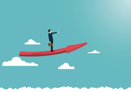 Business growth concept, Businessman stand on arrow flying over the clouds, Symbol of success, Vision, Leadership, Achievement, Eps10 vector illustration