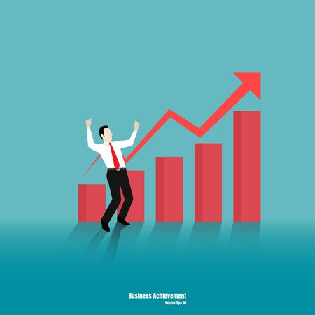 Growth concept with happy businessman on chart bar. Success of marketing, Achievement, Business symbol, Growth, Vector illustration flat design