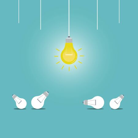 Hanging light bulbs with one glowing on a dark blue background, Success concept, Leadership, Vector illustration flat design