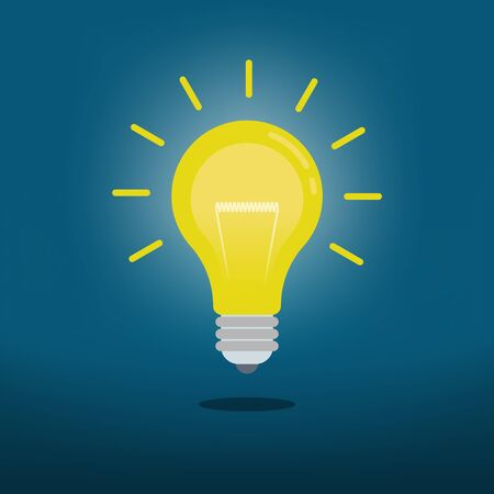 Light bulb on dark blue background, Concept icon creative ideas, Vector illustration flat design