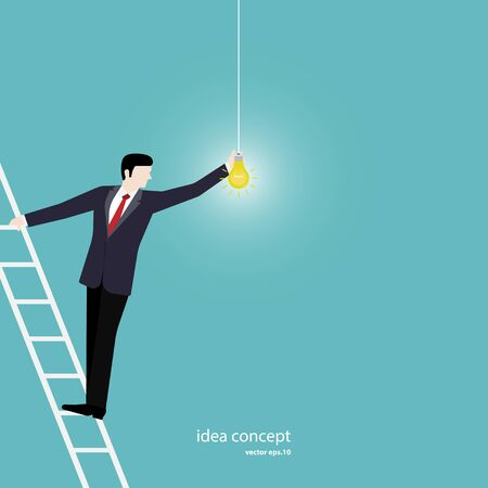 Businessman turn on the lights, Hanging light bulbs with one glowing, Success concept, Leadership, Vector illustration flat design Ilustracja