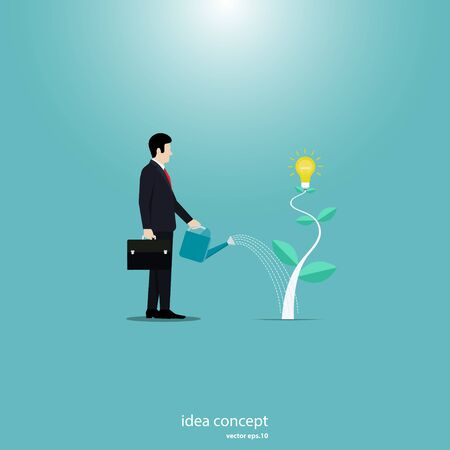 Business concept illustration businessman watering young plant light bulb. Creative ideas, Business growth concept, Vector flat design