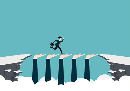 A young businessman runs across a cliff with a supporting hand to success. Business concept. Vector illustration flat design