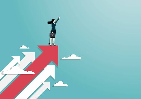 Business vision and target, A businesswoman raise hand standing on red arrow go to success in career. Concept business, Achievement, Character, Leadership, Vector illustration flat