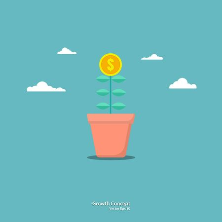 Business concepts. Tree coin in pots. Business growth. Success. Flat illustration vector Ilustracja