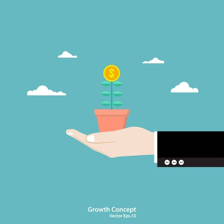 Business growth concept. Businessman hand holding money Tree. Vector illustration flat design