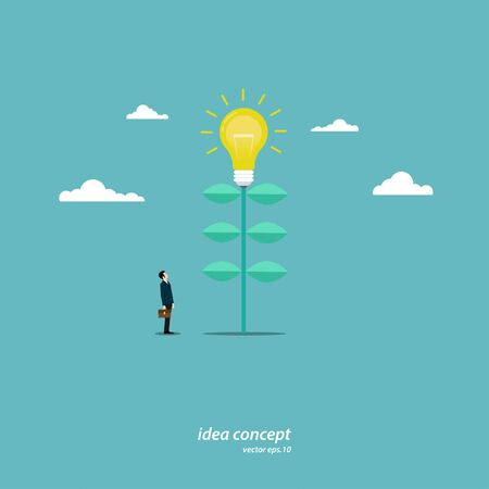 Concept ideas about business. A young businessman stands at a light bulb tree. Business growth. Success. Leadership. Vector illustration flat design