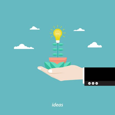Business growth concept. Businessman hand holding tree. Tree light bulb idea in hand. Vector illustration flat design Ilustracja
