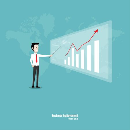 A businessman pointing at a monitor with a graph showing the symbol of business growth. Marketing startup. Career. Achievement. Vector illustration flat design