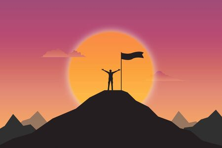 Businessman goal achievement. Silhouette of businessman and flag on top mountain. Sunset background, Motivation, Leadership, Successful, Vector illustration flat design