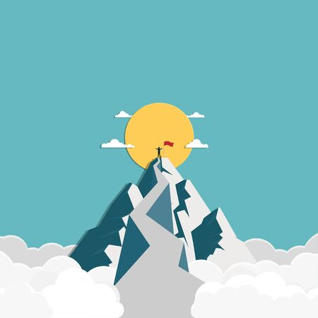 Success businessman stands on top of the mountain, business finance concept, achievement, leadership, vector illustration flat style