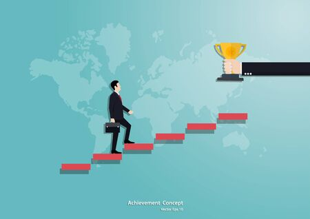 Businessman running up the staircase to trophy cup. business concept growth and the path to success, business finance concept, achievement, leadership, vector illustration flat style
