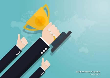 Business hand holding trophy cup, business finance concept, achievement, leadership, vector illustration flat style