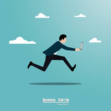 Businessman running holding a laptop, Business concept, Motivation, Moves up to the success, Leadership, Achievement, Goal, Startup, Vector illustration flat style