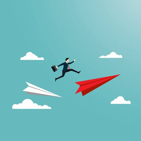 Business people jump over the paper plane. Business symbol, risk, change, level, flat vector illustration