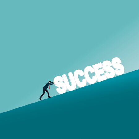 Business concept. businessman pushing the success text uphill. Symbol of difficulty, ambition, motivation, struggle, achievement, vector illustration flat style