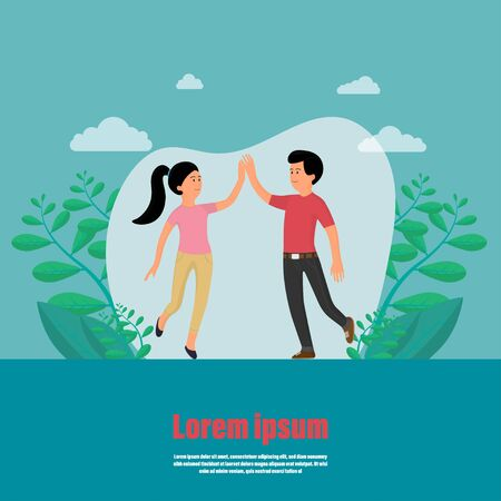 Business achievement. Give five to each other. Man and women jump touch hand to success. Concept of help. Friendship is support and help. Couple of two happy smiling people. Vector illustration flat Ilustracja