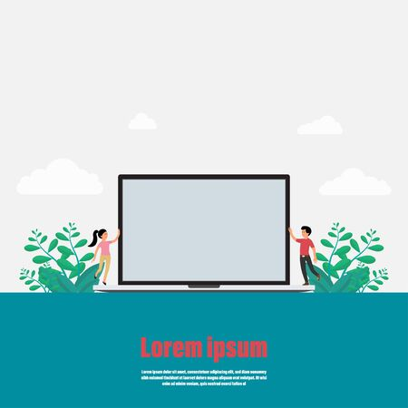 Business achievement of background. Presentation for work on a laptop. Couple of two happy smiling people. Empty space for text you. Vector illustration flat style
