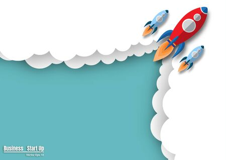 Rocket flying on the sky. rocket launch to success. symbol project start-up business. empty space for text. vector illustration design