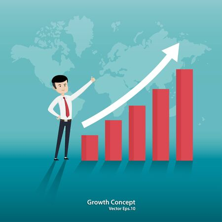 Global economic. businessman standing looking arrow chart. symbol of success. business concept of growth. achievement. vector flat style Ilustracja