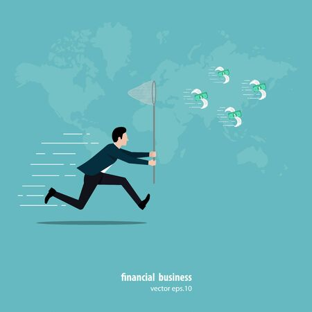 Businessman running to catch flying money. businessman uses insect trapping nets to trying. running to catch a swarm of banknotes with wings flies in the air. vector illustration flat