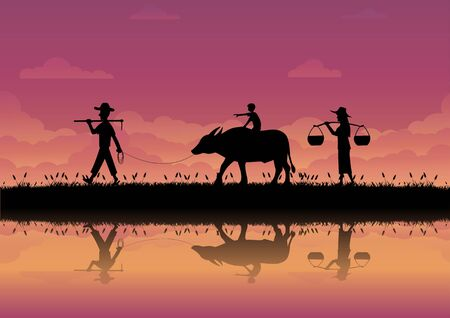 The way of life of farmers in Thailand. silhouette image of the family. farmer boy and his buffalo come back home in the sunset. vector illustration flat