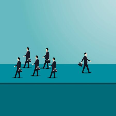 A businessman walked away from the group. symbol of business differences. new ideas creativity. concept. achievement. leadership. vector illustration flat design