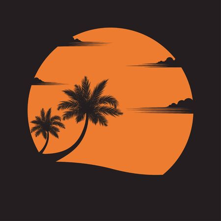Summer concept. coconut trees on the beach of sunset background. business travel. greeting card. silhouettes of nature and coconut plants. landscape. vector illustration flat style