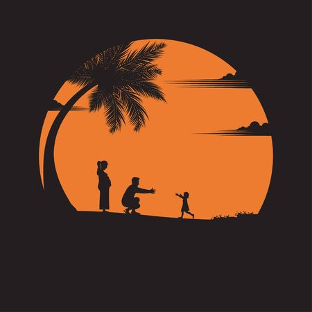 Happy family. father, mother, a baby daughter with fun along edge of sunset sand beach. parents outdoor activity on tropical summer vacations with children. silhouettes. vector illustration flat style