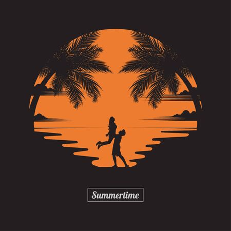 Summer concept. A couple is having fun on the beach of sunset background. business travel greeting card. silhouettes of love on nature and coconut plants. vector illustration flat style