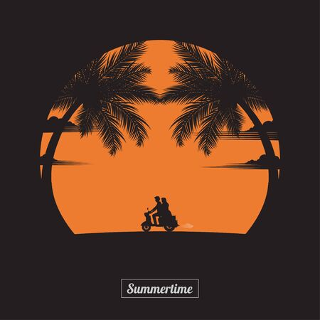 Summertime concept. A couple driving motorbike lovers on the beach of sunset background. business travel greeting card. silhouettes of love on nature and coconut plants. vector illustration flat style