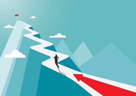Businessman running to the success flag on top of the mountain,  symbol of the startup, business finance concept, achievement, leadership, vector illustration flat style Ilustracja