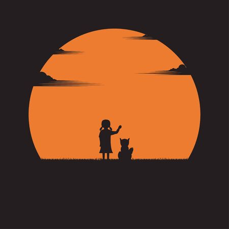 Girl and a dog on a sunset background. Silhouettes of alone on nature landscape. Vector illustration flat style Ilustracja