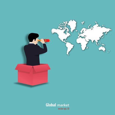 Concept of business finance. Businessman holding telescope looking at the world map. business global marketing. planning, achievement, symbol, vector illustration