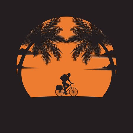 Summertime concept. A man of riding bicycles on the beach of sunset background. business travel greeting card. silhouettes of travel on nature and coconut plants. vector illustration flat style Ilustracja