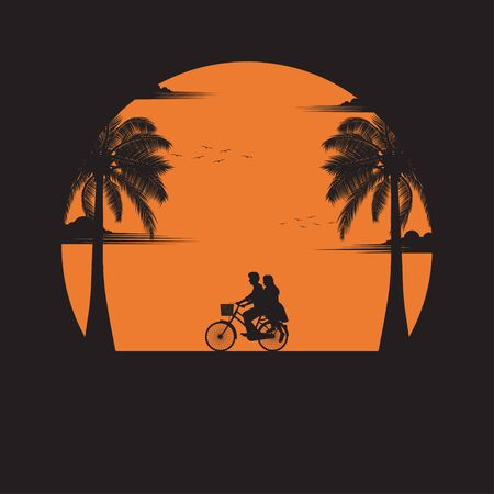 Summertime concept. A couple driving bicycle lovers on the beach of sunset background. business travel greeting card. silhouettes of love on nature and coconut plants. vector illustration flat style