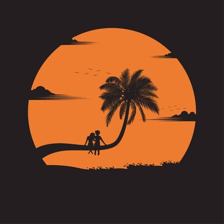 Summertime concept. Couple in happy of love on the beach of sunset background. business travel greeting card. silhouettes of love on nature and coconut plants. vector illustration flat style