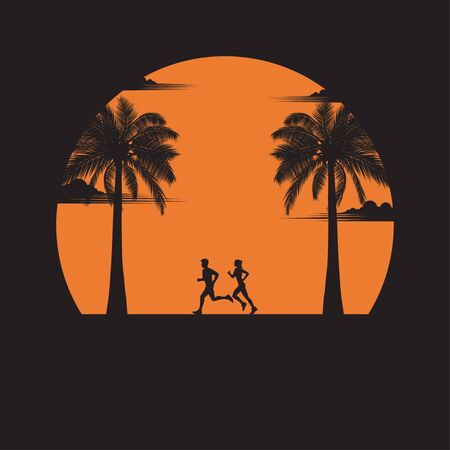 Men and women running exercise outdoor. Silhouette of a couple running at sunset with the sun in the background. Health care concept. fitness, sport, people, beach, lifestyle. vector illustration flat design