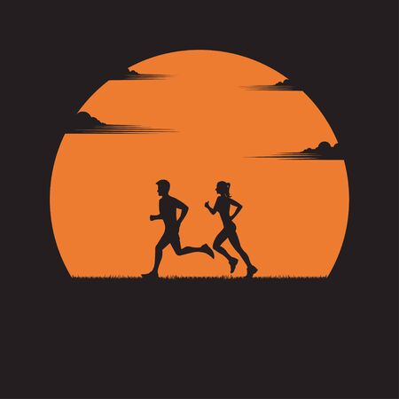 Men and women running exercise outdoor. Silhouette of a couple running at sunset with the sun in the background. Health care concept. fitness, sport, people, lifestyle. vector illustration flat design