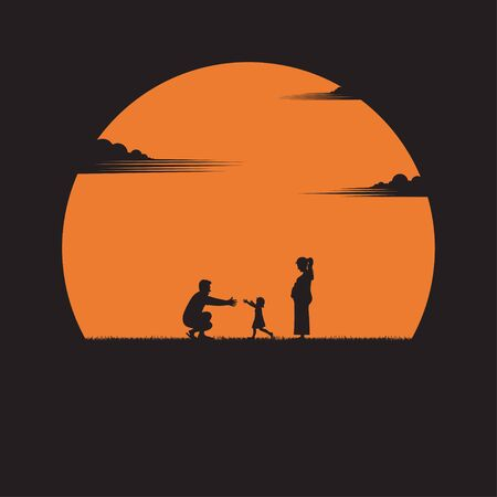 Happy family. father, mother, a baby daughter with fun along edge of sunset meadow. parents outdoor activity on tropical summer vacations with children. silhouettes. vector illustration flat style