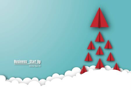 Paper plane flying on the sky. group paper plane launch to success. symbol project start-up business. empty space for text. vector illustration design Ilustracja