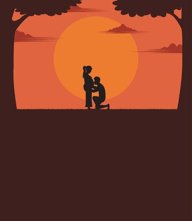 Family concept. Couples who show love with the sunset as a background. maternity, a man kiss the pregnant woman, silhouette, space for the text you, vector illustration design