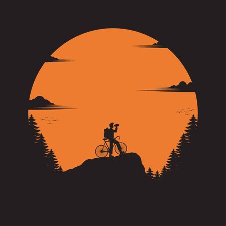 Traveler with bicycle standing looking on the valley. The man watches nature. Travel concept, silhouette vector, sunset background, exploring, Hiking in the forest. Adventure tourism. illustration
