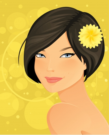 girl short hair: Beautiful Brunette Woman Portrait Illustration